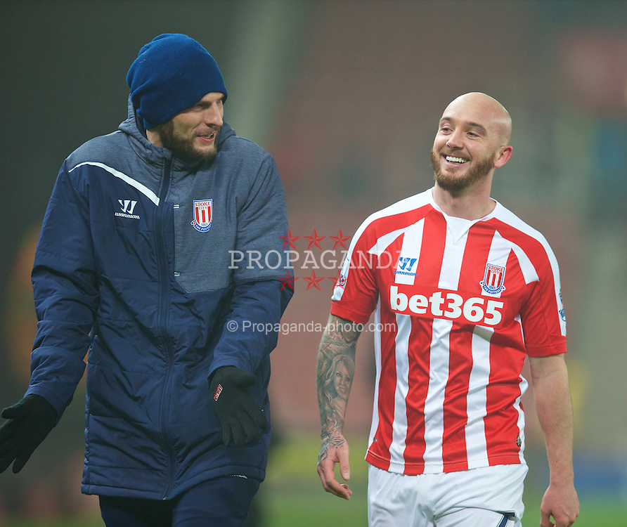 STOKE-ON-TRENT, ENGLAND - Sunday, January 4, 2015: Stoke City's two-goal match-winner Stephen Ireland is all smiles after his brace helped seal a 3-1 victory over Wrexham during the FA Cup 3rd Round match at the Britannia Stadium. (Pic by David Rawcliffe/Propaganda)