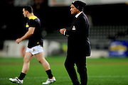 Head coach Earl Va'a of Wellington leads a drill prior to the Mitre 10 Competition match between Otago and Wellington at Forsyth Barr Stadium on August 25, 2016 in Dunedin, New Zealand. Credit: Joe Allison / www.Photosport.nz