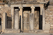 Fountain house behind the Great Theatre's stage building, 3rd century BC, Ephesus, Izmir, Turkey. The anteroom in front of the Ionic entrance was added in the Roman period. As an inscription on one of the columns states, the water collected here was brought in from the Marnas River. Ephesus was an ancient Greek city founded in the 10th century BC, and later a major Roman city, on the Ionian coast near present day Selcuk. Picture by Manuel Cohen
