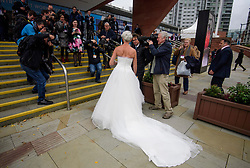 © Licensed to London News Pictures. 02/10/2017. Manchester, UK. Writer KATY HOPKINS wearing  wedding dress on the second day of the Conservative Party Conference. The four day event is expected to focus heavily on Brexit, with the British prime minister hoping to dampen rumours of a leadership challenge. Photo credit: Ben Cawthra/LNP