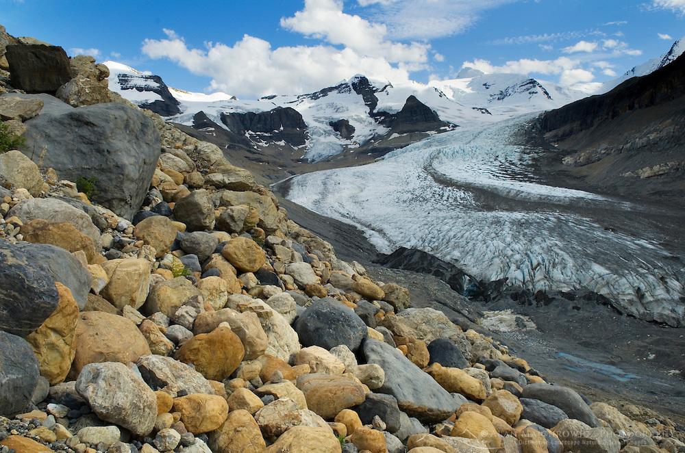 Boulder strewn lateral moraine of Robson Glacier, Mt. Robson Provincial Park British Columbia Canada