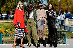 Street style, Linda Tol, Erika Boldrin, Madelynn Furlong, and Tiffany Hsu arriving at Paco Rabanne spring summer 2019 ready-to-wear show, held at Grand Palais, in Paris, France, on September 27th, 2018. Photo by Marie-Paola Bertrand-Hillion/ABACAPRESS.COM