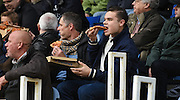 Fans take advantage of the free pizza during the Sky Bet League 2 match between Portsmouth and Mansfield Town at Fratton Park, Portsmouth, England on 24 October 2015. Photo by Michael Hulf.