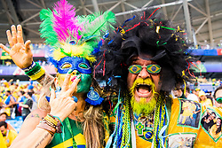 July 2, 2018 - Samara, Russia - 180702 Supporters of Brazil celebrate after the FIFA World Cup round of 16 match between Brazil and Mexico on July 2, 2018 in Samara..Photo: Petter Arvidson / BILDBYRÃ…N / kod PA / 92081 (Credit Image: © Petter Arvidson/Bildbyran via ZUMA Press)