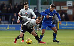Danny Lloyd of Peterborough United in action with Harry Forrester of AFC Wimbledon - Mandatory by-line: Joe Dent/JMP - 12/11/2017 - FOOTBALL - Cherry Red Records Stadium - Kingston upon Thames, England - AFC Wimbledon v Peterborough United - Sky Bet League One