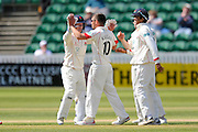 Lancashire's Simon Kerrigan celebrates taking the wicket of Somerset's Tom Abell during the Specsavers County Champ Div 1 match between Somerset County Cricket Club and Lancashire County Cricket Club at the County Ground, Taunton, United Kingdom on 4 May 2016. Photo by Graham Hunt.