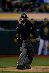 OAKLAND, CA - MAY 26:  MLB umpire Jeff Kellogg #8 calls a strike during the third inning between the Oakland Athletics and the Detroit Tigers at O.co Coliseum on May 26, 2015 in Oakland, California. The Detroit Tigers defeated the Oakland Athletics 1-0. (Photo by Jason O. Watson/Getty Images) *** Local Caption *** Jeff Kellogg