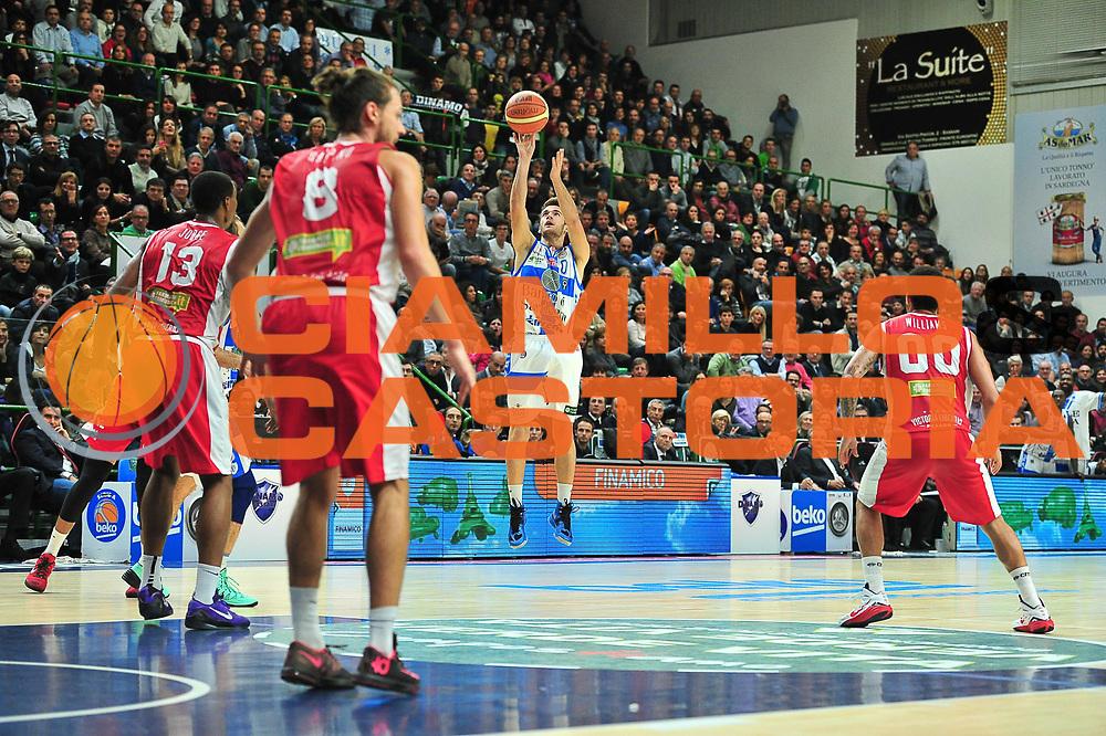 DESCRIZIONE : Campionato 2014/15 Dinamo Banco di Sardegna Sassari - Victoria Libertas Consultinvest Pesaro<br /> GIOCATORE : Enrico Merella<br /> CATEGORIA : Tiro Tre Punti<br /> SQUADRA : Dinamo Banco di Sardegna Sassari<br /> EVENTO : LegaBasket Serie A Beko 2014/2015<br /> GARA : Dinamo Banco di Sardegna Sassari - Victoria Libertas Consultinvest Pesaro<br /> DATA : 17/11/2014<br /> SPORT : Pallacanestro <br /> AUTORE : Agenzia Ciamillo-Castoria / M.Turrini<br /> Galleria : LegaBasket Serie A Beko 2014/2015<br /> Fotonotizia : Campionato 2014/15 Dinamo Banco di Sardegna Sassari - Victoria Libertas Consultinvest Pesaro<br /> Predefinita :
