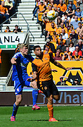 Scott Golbourne and Jonathan Parr challenge for the ball during the Sky Bet Championship match between Wolverhampton Wanderers and Ipswich Town at Molineux, Wolverhampton, England on 18 April 2015. Photo by Alan Franklin.