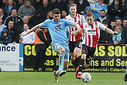 Chris Stokes and Joe Morrell during the EFL Sky Bet League 2 match between Cheltenham Town and Coventry City at LCI Rail Stadium, Cheltenham, England on 28 April 2018. Picture by Antony Thompson.