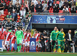 Teams enter pitch for kick off, Middlesbrough v Norwich, Sky Bet Championship, Play Off Final, Wembley Stadium, Monday  25th May 2015