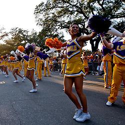 November 3, 2012; Baton Rouge, LA, USA;  LSU Tigers cheerleaders perform outside before a game against the Alabama Crimson Tide at Tiger Stadium. Alabama defeated LSU 21-17. Mandatory Credit: Derick E. Hingle-US PRESSWIRE