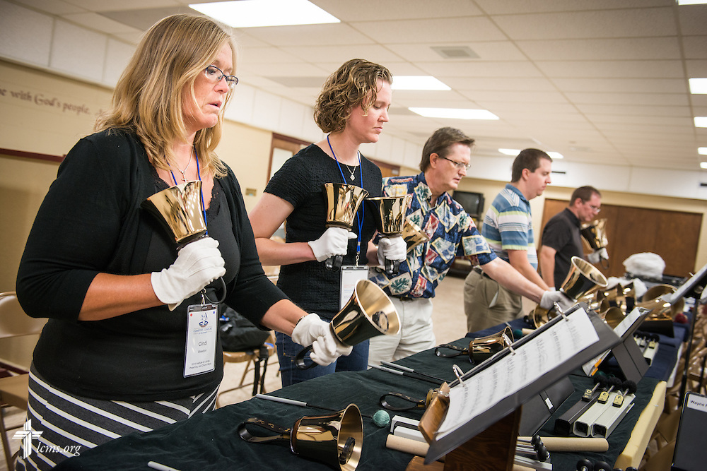Cindi Weedon participates in a handbell workshop at the  2014 Institute on Liturgy, Preaching and Church Music on Monday, July 28, 2014, at St. John Lutheran Church near Concordia University, Nebraska, in Seward, Neb. LCMS Communications/Erik M. Lunsford