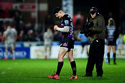 Louis Rees-Zammit of Gloucester Rugby celebrates as his try is awarded - Mandatory by-line: Ryan Hiscott/JMP - 14/02/2020 - RUGBY - Kingsholm - Gloucester, England - Gloucester Rugby v Exeter Chiefs - Gallagher Premiership
