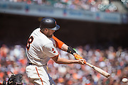 San Francisco Giants right fielder Hunter Pence (8) makes contact with the ball against the Arizona Diamondbacks at AT&T Park in San Francisco, Calif., on August 31, 2016. (Stan Olszewski/Special to S.F. Examiner)