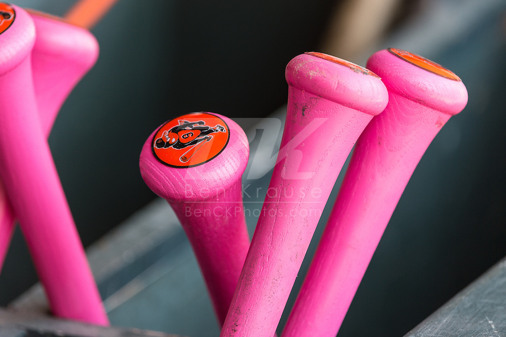 A close up view of some of the pink bats used by the Baltimore Orioles during a game on Mother's Day against the Minnesota Twins on May 12, 2013 at Target Field in Minneapolis, Minnesota.  The Orioles defeated the Twins 6 to 0.  Photo: Ben Krause