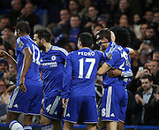 Chelsea defender Cesar Azpilcueta celebrating goal during the Barclays Premier League match between Chelsea and West Bromwich Albion at Stamford Bridge, London, England on 13 January 2016. Photo by Matthew Redman.