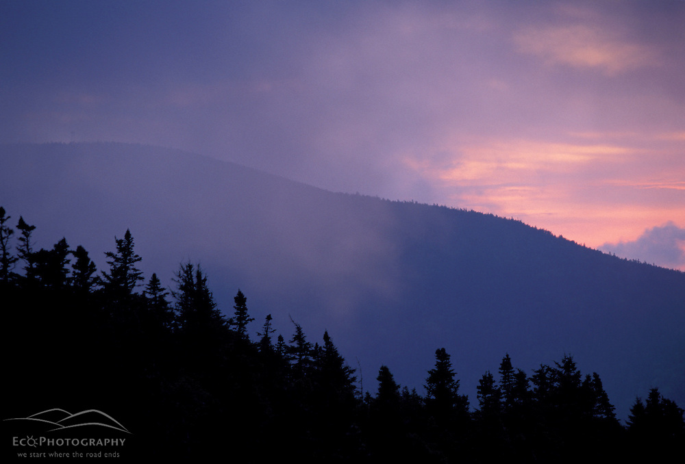 Appalachian Trail - Clouds and sunrise in Maine's Mahoosuc Mountains. Maine Public Reserve Land.   Mahoosuc Arm, ME