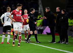 Referee Darren England talks to Derby County manager Gary Rowett  - Mandatory by-line: Joe Meredith/JMP - 19/01/2018 - FOOTBALL - Pride Park Stadium - Derby, England - Derby County v Bristol City - Sky Bet Championship
