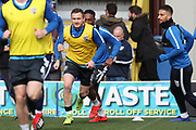 Gillingham attacker Dean Parrett (8) warming up during the EFL Sky Bet League 1 match between AFC Wimbledon and Gillingham at the Cherry Red Records Stadium, Kingston, England on 23 March 2019.