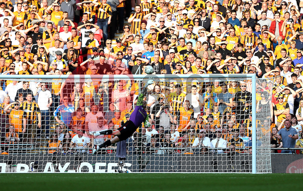 Hull City fans watch as Keiren Westwood of Sheffield Wednesday is beaten by the shot from Mohamed Diame of Hull City to open the scoring - Mandatory by-line: Robbie Stephenson/JMP - 28/05/2016 - FOOTBALL - Wembley Stadium - London, England - Hull City v Sheffield Wednesday - Sky Bet Championship Play-off Final