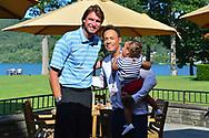 COOPERSTOWN, NY July 24: D-backs Randy Johnson smiles for a photo with Roberto Alomar at The Otesaga Resort Hotel in Cooperstown, NY. (Photo by Jennifer Stewart/Arizona Diamondbacks)