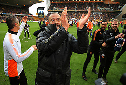 Free to use courtesy of Sky Bet - Wolverhampton Wanderers manager Nuno celebrates after lifting the Sky Bet Championship 2017/18 league trophy - Mandatory by-line: Matt McNulty/JMP - 28/04/2018 - FOOTBALL - Molineux - Wolverhampton, England - Wolverhampton Wanderers v Sheffield Wednesday - Sky Bet Championship