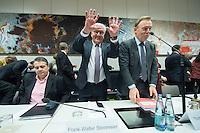 11 FEB 2017, BERLIN/GERMANY:<br /> Sigmar Gabriel, SPD, Bundesaussenminister, Frank-Walter Steinmeier, SPD, Kandidat fuer das Amt des Bundespraesidenten, Thomas Oppermann, SPD Fraktionsvorsitzender, (v.L.n.R.), vor Beginn der SPD Fraktionssitzung am Vortag der Bundesversammlung, Reichstagsgebaeude, Deutscher Bundestag<br /> IMAGE: 20170211-02-045