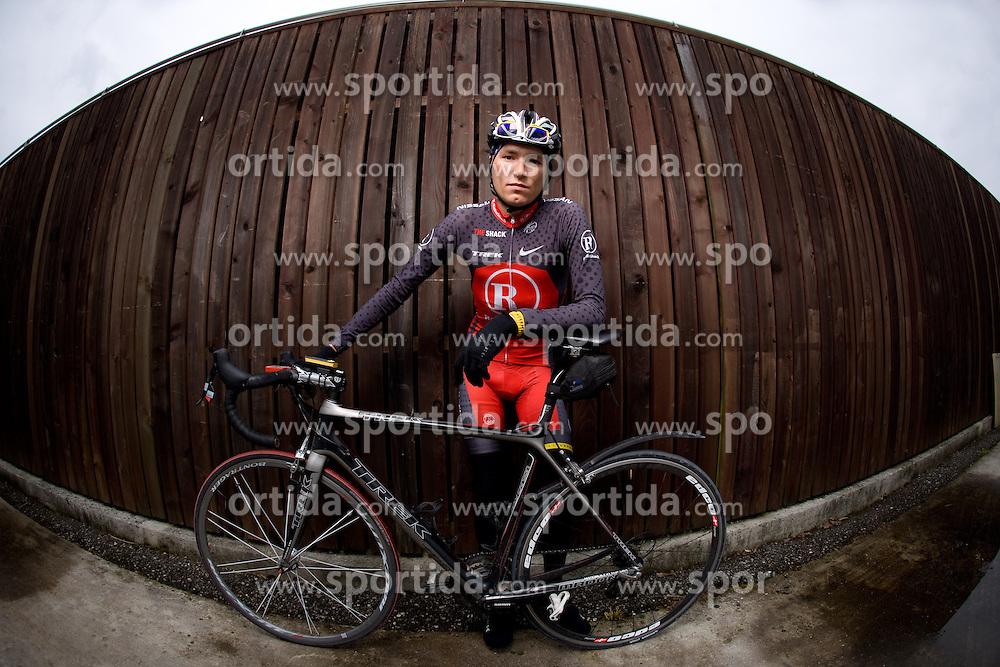 Slovenian rider Jani Brajkovic of RadioShack Team  at fotosession, on April 22, 2010, in Novo mesto, Slovenia.  (Photo by Vid Ponikvar / Sportida)