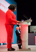 Labour Conference, Brighton, Great Britain <br /> 28th September 2015 <br /> <br /> Jeremy Corbyn MP <br /> Diane Abbott speaking <br /> <br /> Photograph by Elliott Franks <br /> Image licensed to Elliott Franks Photography Services