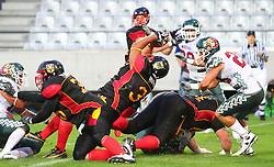 08.07.2011, Tivoli Stadion, Innsbruck, AUT, American Football WM 2011, Group A, Germany (GER) vs Mexico (MEX), im Bild Jerome Morris (Germany, #31, RB) falls into the endzone for a touchdown // during the American Football World Championship 2011 Group A game, Germany vs Mexico, at Tivoli Stadion, Innsbruck, 2011-07-08, EXPA Pictures © 2011, PhotoCredit: EXPA/ T. Haumer