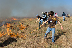"Participants in ""Flames in the Flint Hills"" drag fire across the prairie grass of the Flying W Ranch near Clements, Kansas. This agritourism event allows ranch guests to take part in lighting the prescribed burns. Prairie grasses in the Kansas Flint Hills are intentionally burned by land mangers and cattle ranchers in the spring to prepare the land for cattle grazing and help maintain a healthy tallgrass prairie ecosystem. The burning is also an effective way of controlling invasive plants and trees. The prairie grassland is burned when the soil is moist but grasses are dry. This allows the deep roots of the grasses to survive and the burned grasses on the soil surface return as nutrients to the soil. These nutrients allow for the rapid growth of new grass. After approximately two weeks of burning, new grass emerges. Less than four percent of the original 140 million acres of tallgrass prairie remains in North America. Most of the remaining tallgrass prairie is in the Flint Hills in Kansas."