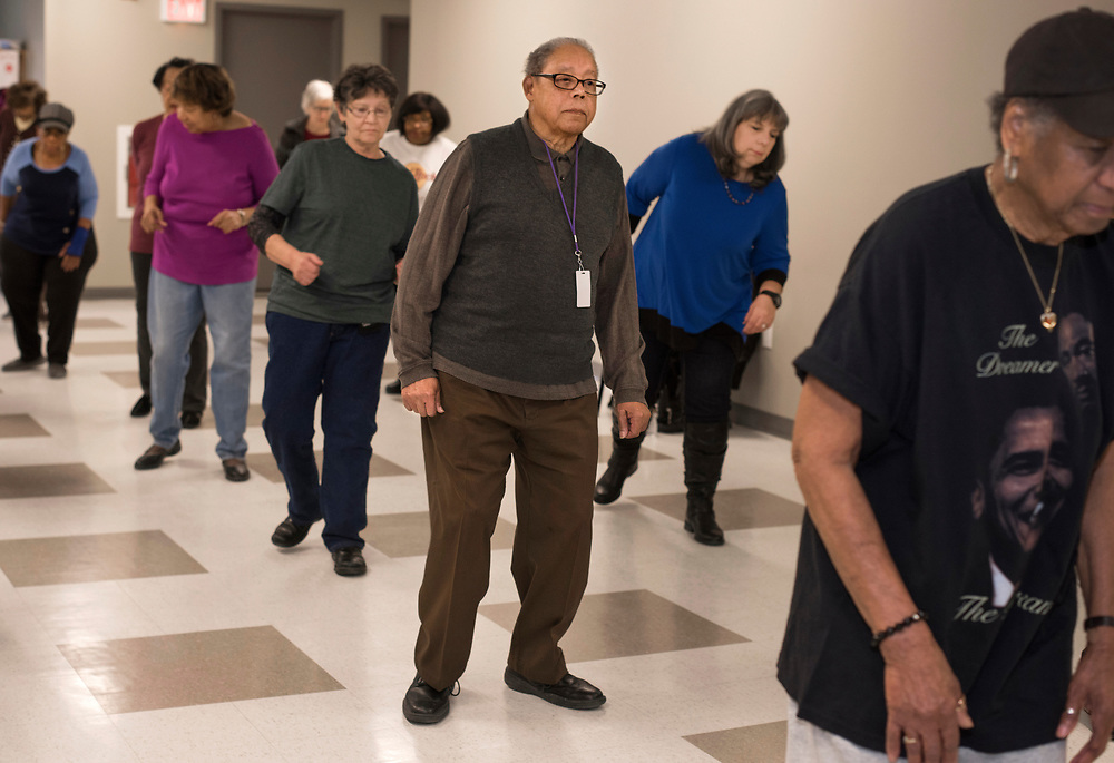 George Smith, age 90, is learning the Electric Slide during the Friday morning line dancing class at Vintage.