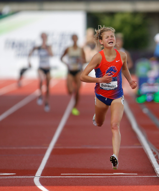 Boise State's Allie Ostrander crosses the finish line to win the women's 3000 meters steeple chase in the time of 9 minutes, 41.31 seconds on the final day of the NCAA outdoor college track and field championships in Eugene, Ore., Saturday, June 10, 2017. (AP Photo/Timothy J. Gonzalez)