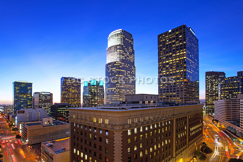 Horizontal Dusk View Of Downtown LA At 7th Street And Flower Street California