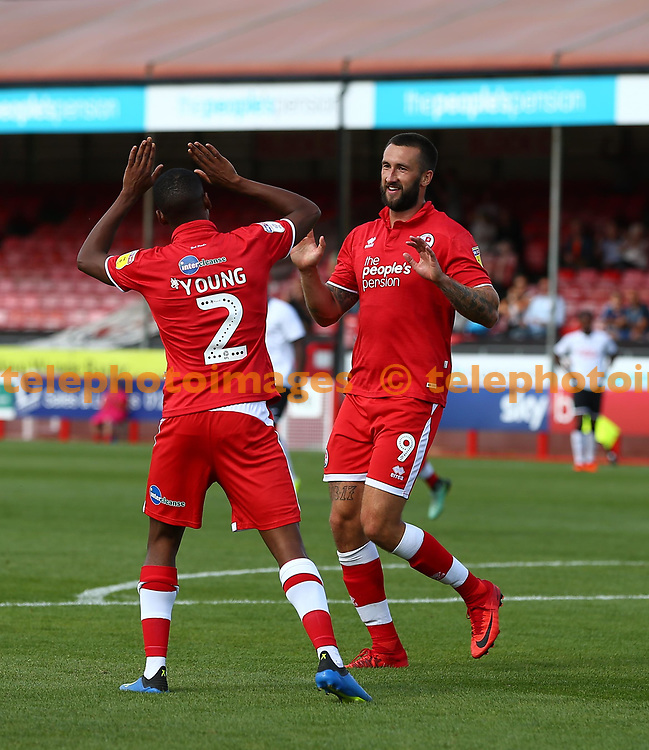 Crawley's Ollie Palmer celebrates scoring during the pre season friendly between Crawley Town and KSV Roeselare at The Broadfield Stadium, Crawley , UK. 28 July 2018.