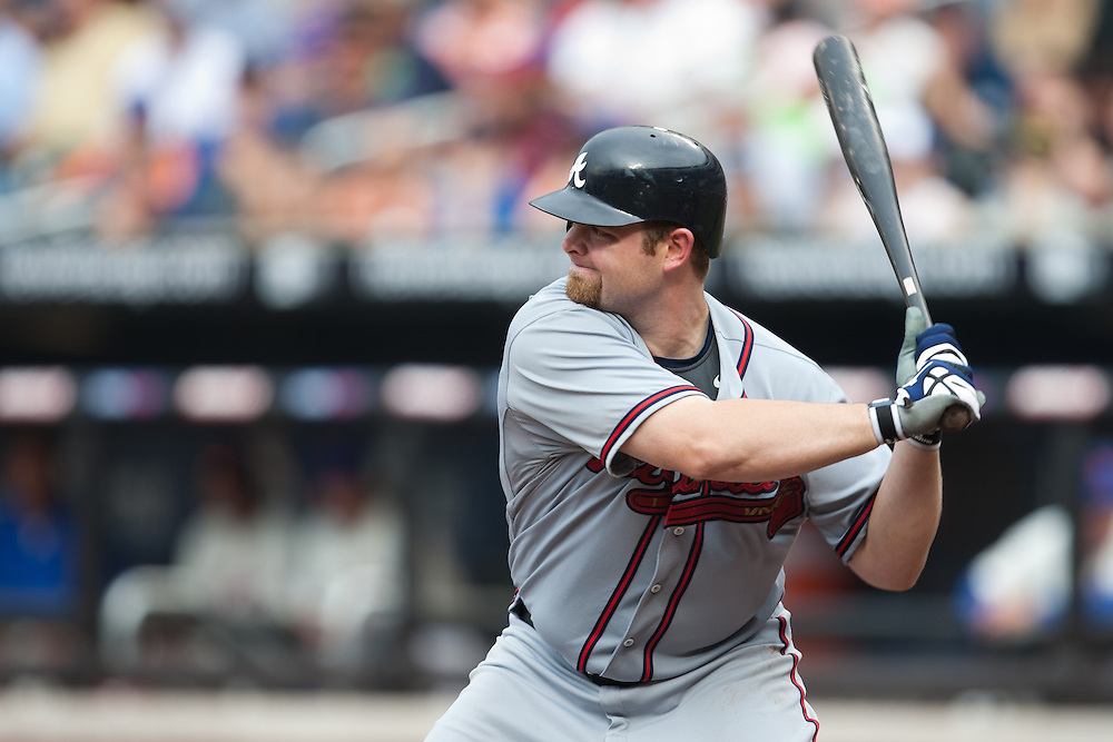 NEW YORK - JULY 10: Brian McCann #16 of the Atlanta Braves bats against the New York Mets at Citi Field on July 10, 2010 in the Queens borough of New York City. The Braves defeated the Mets 4 to 0. (Photo By: Rob Tringali) *** Local Caption *** Brian McCann