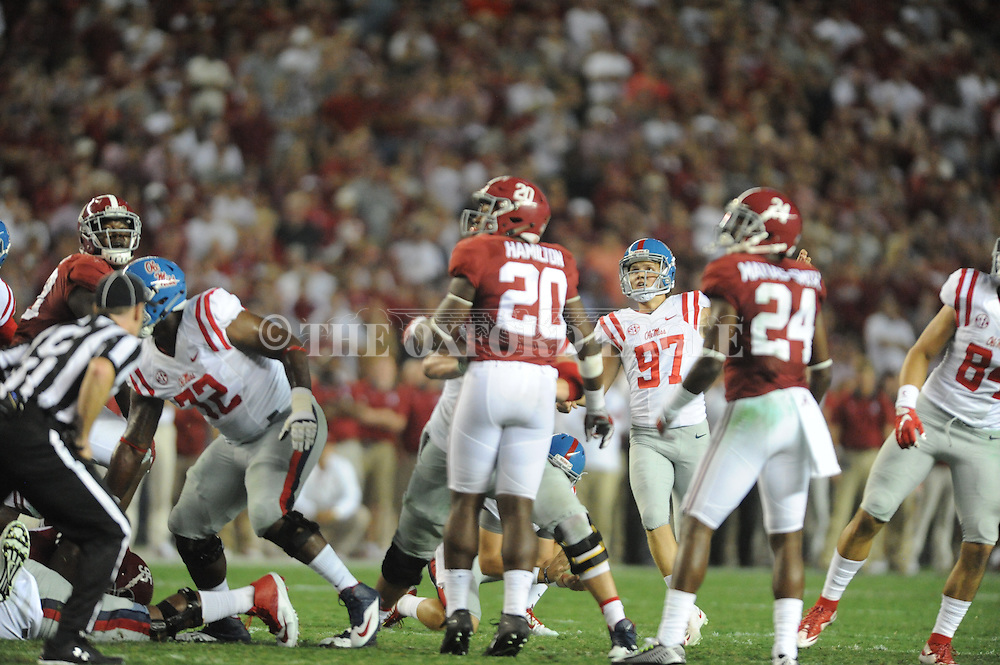 Ole Miss Rebels place kicker Gary Wunderlich (97) makes a field goal against  Alabama at Bryant-Denny Stadium in Tuscaloosa, Ala. on Saturday, September 19, 2015. Ole Miss won 43-37.