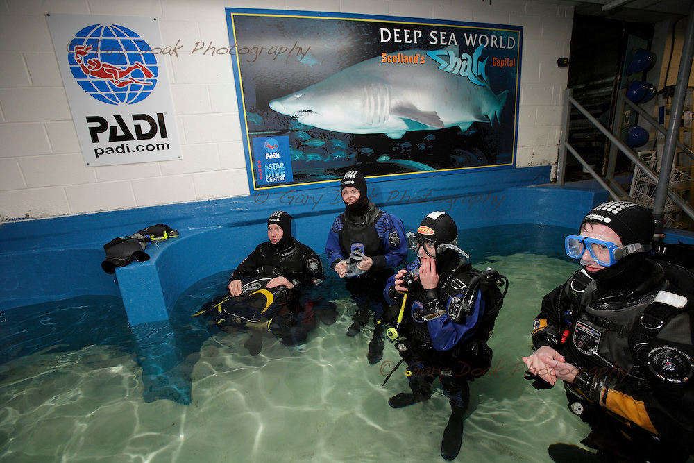 The PADI Shark Awareness Speciality dive at Deep Sea World ln South Queensferry,near Edinburgh.