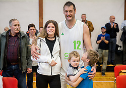 Goran Jagodnik with his kids Lana, Jaka and Vital after basketball match between KD Ilirija and KK Mesarija Prunk Sezana in Last Round of 2. SKL  2016/17, on April 15, 2017 in GIB center, Ljubljana, Slovenia. Photo by Vid Ponikvar / Sportida