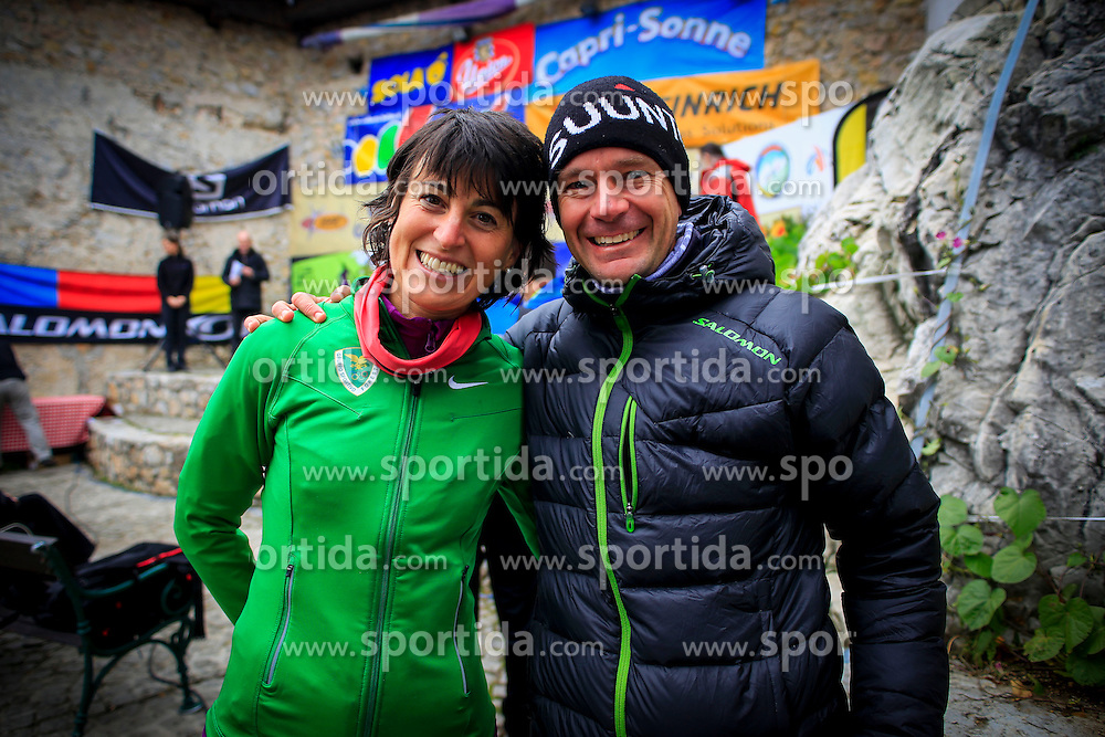 Olympic bronze medal winner (Turin 2006) Antonela Confortola and six times world mountain running champion Jonathan Wyatt at 34th Smarna gora Race 2013 in Ljubljana, Slovenia on Oktober 5, 2013 in Ljubljana, Slovenia.(Photo by Peter Kastelic / Sportida.com)