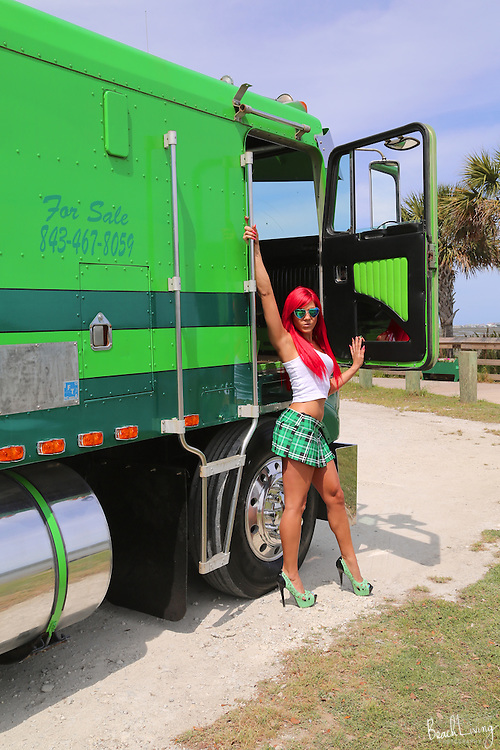 Hot and sexy Whitney Rose Stevens on a custom Kenworth Truck Whitney Rose Stevens models for a custom built Kenworth truck ad.