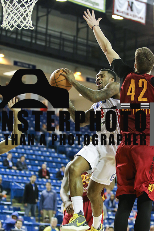 Delaware 87ers Guard Sean Kilpatrick (14) drives to the hoop as Fort Wayne Mad Ants Center Shayne Whittington (42) defends in the first half of a NBA D-league regular season basketball game between the Delaware 87ers and the Fort Wayne Mad Ants Wednesday. Dec 09 2015, at The Bob Carpenter Sports Convocation Center in Newark, DEL