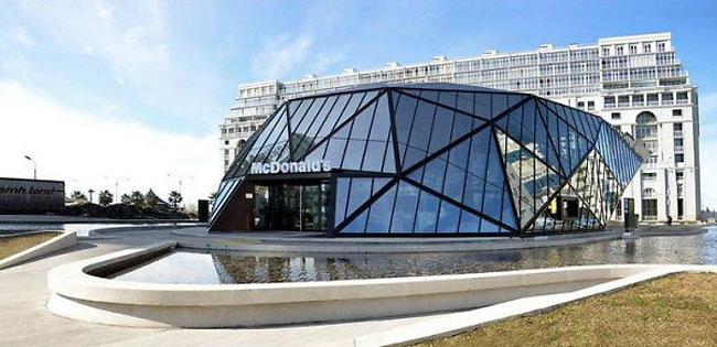 Deluxe Georgian McDonald&rsquo;s<br /> McDonald's group asked Khmaladze Architects imagine a modern design and unique for a chain of restaurants located in Batumi, Georgia. This glass structure highlight's the sign of American fast food chain. <br /> &copy;exclusivepix