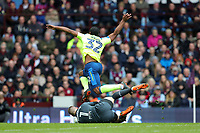 Aston Villa v Derby County - Sky Bet Championship<br /> BIRMINGHAM, ENGLAND - APRIL 28 :  Derby's Cameron Jerome takes a tumble over Aston Villa goal keeper, Sam Johnstone