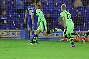 Elliott Frear scores the winner in the last few minutes during the The FA Cup match between AFC Wimbledon and Forest Green Rovers at the Cherry Red Records Stadium, Kingston, England on 7 November 2015. Photo by Stuart Butcher.