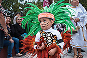 A young boy dressed in Conchero Indian costume during the week long fiesta of the patron saint Saint Michael September 26, 2017 in San Miguel de Allende, Mexico.