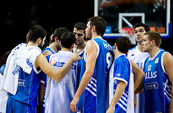 Players of Greece after the basketball game between National basketball teams of France and Greece at of FIBA Europe Eurobasket Lithuania 2011, on September 15, 2011, in Arena Zalgirio, Kaunas, Lithuania. France defeated Greece 64-56.  (Photo by Vid Ponikvar / Sportida)