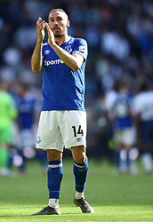 Everton's Cenk Tosun applauds the away fans at full time