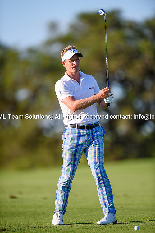 21 April 2016:  Luke Donald during the first round of the Valero Texas Open at the TPC San Antonio Oaks Course in San Antonio, TX. (Photo by Daniel Dunn/Icon Sportswire)